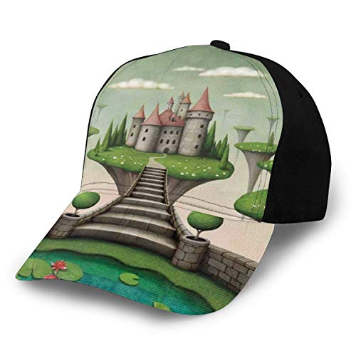 Ingpopol Hip Hop Sun Hat Baseball cap,Boho Castle On Hanging Meadows And Tiny Water Pond with Floating Pinky Lilly Flowers,for Men&Women