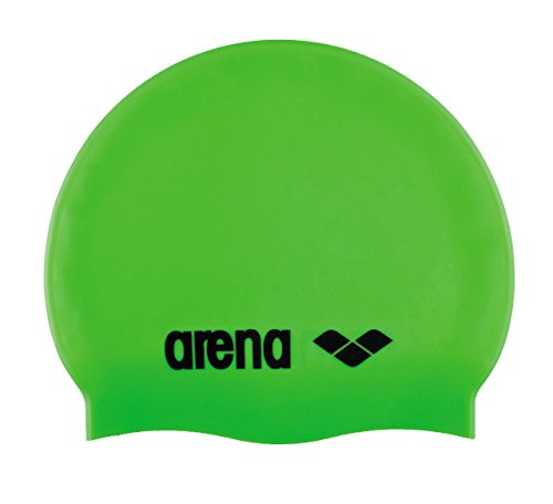 arena Kinder Unisex Wettkampf Badekappe Classic Silikon Junior (Verstärkter Rand, Weniger Verrutschen), Acid Lime-Black (65), One Size