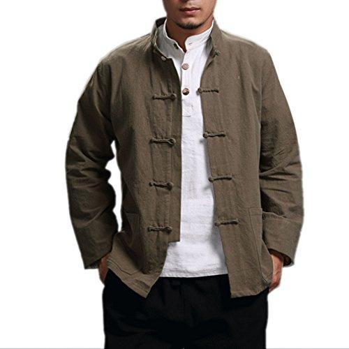 Honghu Cultura Cinese Rradizionale Maniche Lunghe Cotone Fatto A Mano Camicia Uomo Verde