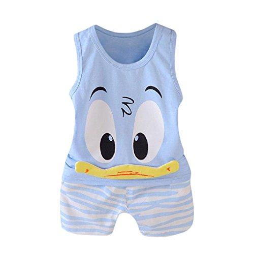 QinMM 2 Stücke Kleinkind Baby Mädchen Jungen Cartoon Weste Tops T-Shirt Shorts Outfits Set Kleidung Set Drucken Baby Kleidung Camouflage Kühlen Disney Grün Blau 12 Mt-3 T (3T, Blau)
