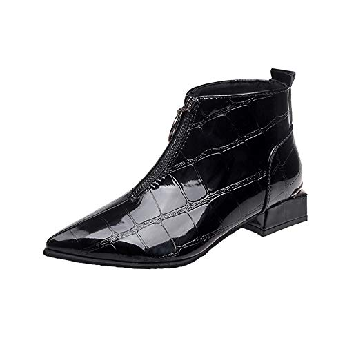 MERICAL Damen Fashion Solid Leder Zipper Dicke Stiefel Runde Zehe Schuhe(39 EU,Schwarz)