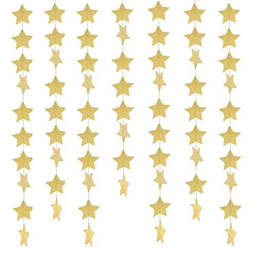 Sterne Ziehen Blume, Girlande Bunting Banner Hängende Dekoration für Hochzeit, Geburtstag, Weihnachten, Party, Baby-Dusche, Tischdekoration (Color : Gold)