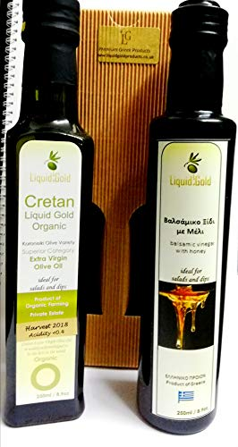 Greek Extra Virgin Olive oil and Balsamic Vinegar gift pack - Sparta Gold Extra Virgin Olive Oil and Greek Balsamic Vinegar with honey - 2 x 250ml bottles in gift box