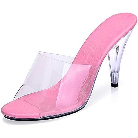 OCHENTA Mujer atractiva de las sandalias del tacon alto Tacones transparente Club de aguja boda Soiree