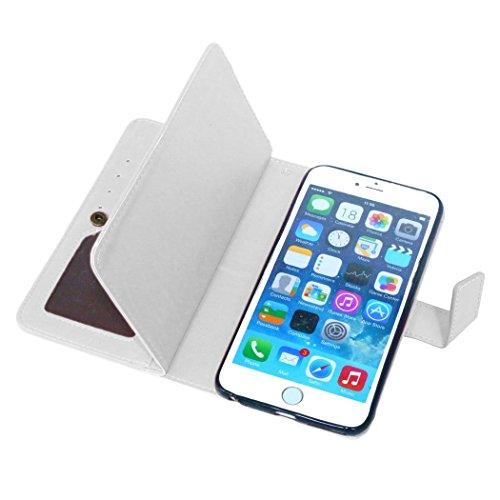 Etsue für iPhone 6 Plus/6S Plus Rose Rot Leder Schutzhülle Case, 9 Kartenfächern Retro Vintage Premium Wallet Book Stil Hülle Flip Case Magnetverschluss Standfunktion Ledertasche Case Tasche Silikon B Weiß
