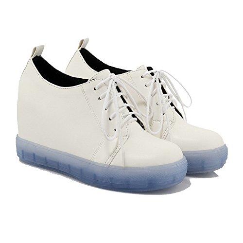 AllhqFashion Damen Rund Zehe Hoher Absatz Weiches Material Rein Schnüren Pumps Schuhe Blau