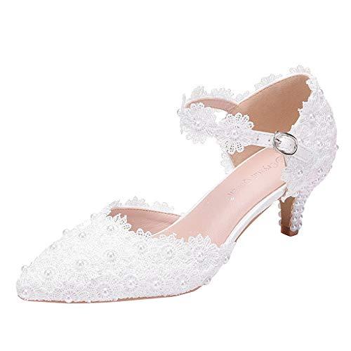 YEARNLY Brautschuhe Damen Weiße Spitze Hochzeit Schuhe Bequeme High Heel Pumpe - Abendgesellschaft Prom Mary Jane Brautjungfern Sandalen