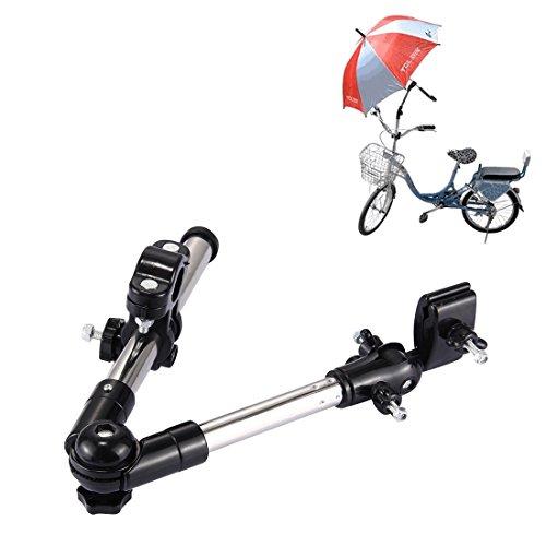 T2O ® Voll verstellbarer Schirmhalter Winkelhalter Ständer Anschluss für Golf Buggy Rollstuhl Kinderwagen Fahrrad