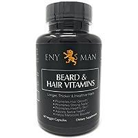 Suplemento de crecimiento de la barba con vitaminas naturales y esenciales y biotin que promueve un crecimiento facial más rápido para los hombres de 60 cápsulas más completas y más gruesas para la barba.