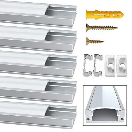 LED Aluminium Profil, Jirvyuk Led Aluminium Leisten 5 Pack 1M/ 3.3ft U-Form Aluminium Extrusion Milchig Deckel Endkappen Metall Befestigungs Clips ( Silber ) (Silber-U) - Led-aluminium-montage-kanal