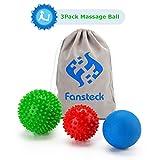 Bolas de Masaje, Fansteck 3 pack Pelota Masaje de Pies y Manos para liberacion miofascial, Fascitis Plantar, aliviar dolor muscular. Masajeador para pie, muñeca, espalda, cervical, piernas y etc.