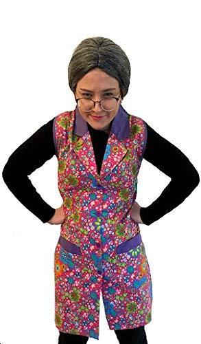 Hausdame Kostüm - KarnevalsTeufel Bunter Hausfrauenkittel geblümt Oma-Verkleidung Putzfrau-Kostüm