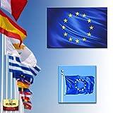 ADATECH Drapeau de l·Europe 150x90cm Drapeau européen 90 x 150 cm Polyester léger - Neuf