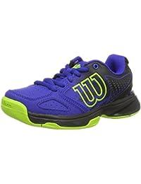 Wilson WRS321830E115, Zapatillas de Tenis Unisex Niños, Azul (Blue Iris Wil / Black / Granny Green), 30 EU