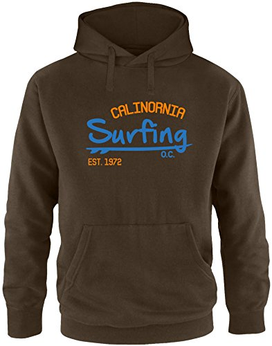 EZYshirt Surfing California Herren Hoodie Braun/Blau/Orange