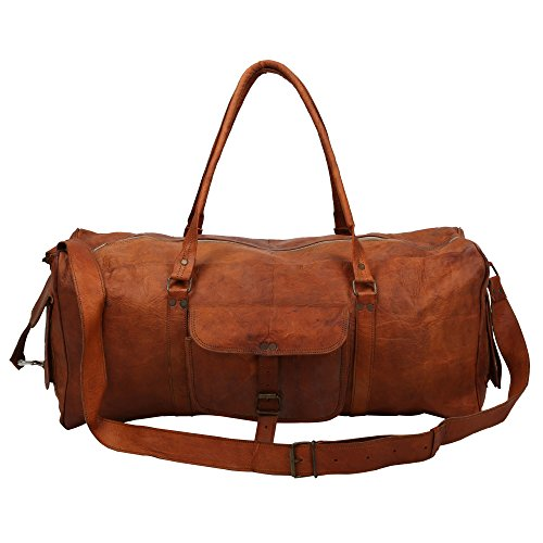 17,8 cm Zoll hoch x 58,4 cm Zoll lang, Single Pocket Full Grain Veg Tan 100% echtes Leder Vintage Hand Messenger Bag Reisetasche Cargo Duffle Bag mit rustikalem Finish By indicraft INC (Grain-leder-aktentaschen -)