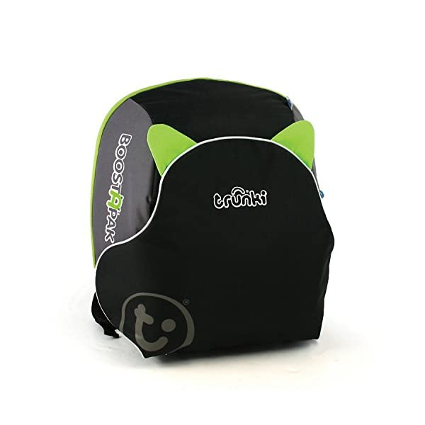 Trunki BoostApak - Travel Backpack & Child Car Booster Seat for Group 2-3 (Green)  QUICKLY TRANSFORMS – Kid's bag to portable booster cushion in seconds (featuring internal hard shell and fold out seatbelt guides) AVOID HIRE CHARGES - On fly drive holidays! Can also be used as dining, cinema or stadium booster to see the action HAND LUGGAGE - 8-litre capacity for packing toys/games/stationary keeping children entertained on the go 1