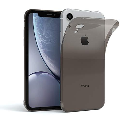 EAZY CASE Hülle für Apple iPhone XR Schutzhülle Silikon, Ultra dünn, Slimcover, Handyhülle, Silikonhülle, Backcover, Durchsichtig, Klar Anthrazit