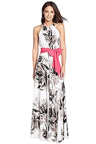 Miss Floral® Womens Sleeveless Floral Print Summer Maxi Dress Size 6 - 14