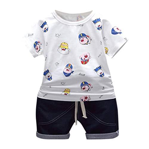 Huhu833 Baby Kleidung Set, 2 stücke Kleinkind Baby Jungen Unterhemd Cartoon Schwein drucken Rundhals Kurzarm T Shirt + Einfarbig Shorts Kurze Hosen Outfit Kleidung (Weiß, 6-12Monate) (Schwein-kostüm-3-6 Monate Baby)