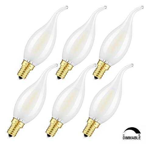 tamaykim 2W dimmbar LED Filament Kerze Leuchtmittel, 5000K Tageslicht (Bright Weiß) 200lm, E14Kandelaber Boden Lampe, C35Flame Form Bent Tip, Milchglas, entspricht 20W Glühlampe 6Pack