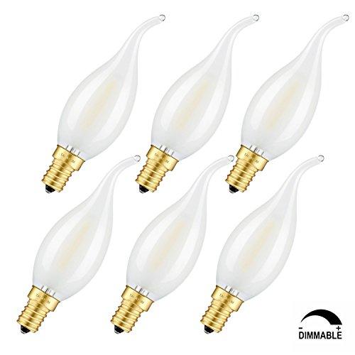 TAMAYKIM C35 2W Dimmbar Glühfaden LED Kerze Lampe, 5000K Tageslichtweiß 200 Lumen, Ersatz für 20W Glühlampen, E14 Fassung, Flamme Form, Matt Glas, 360° Abstrahlwinkel, 6er-Pack