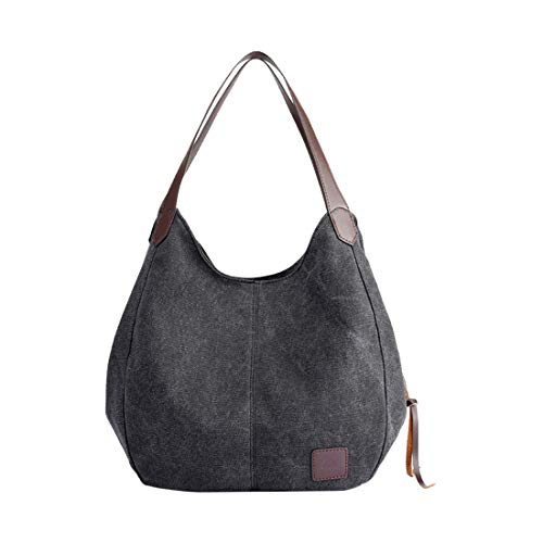 Zhhlaixing Frauen Umhängetasche Multifunktionale Canvas-Handtasche Beiläufiger Geldbeutel Vintage Hobo-Einkaufstasche für School Travelling Shopper Handtasche