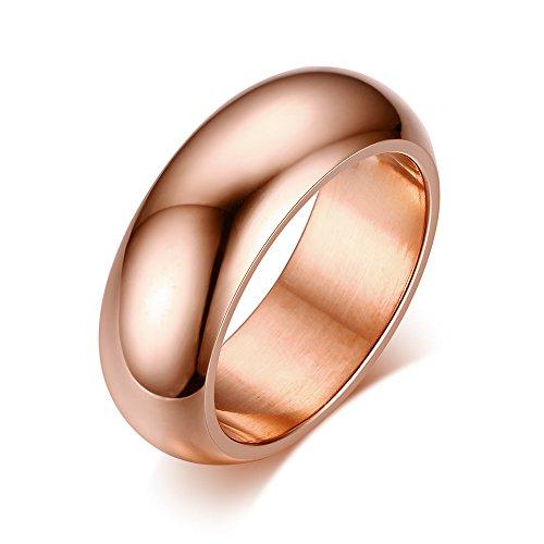 Um gioielli anello da uomo donna liscio fedi nuziali fidanzamento amanti amore anelli acciaio inossidabile oro rosa