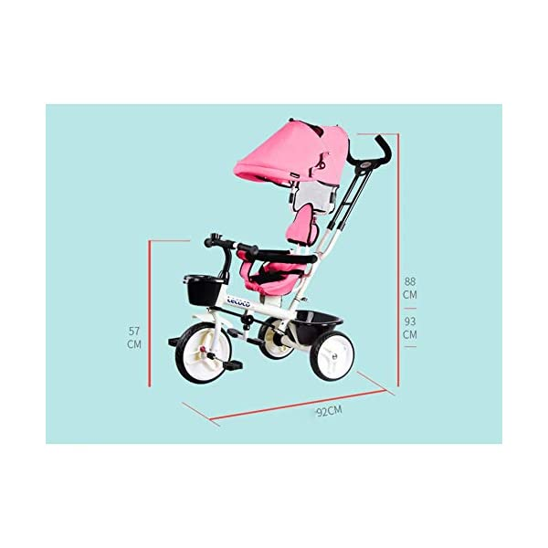 L@LILI Lightweight Children's Tricycle 1-3 Year Old Stroller Trolley Seat Can Be Rotated in Both Directions Multi-Purpose Titanium Wheel Carriage,A  Foldable footrest, adjustable push handle (88-93cm) for different ages Fully enclosed wheel, rear wheel brake, safe and secure Handrail built-in connecting rod, which can control the direction of the car through the armrest 5