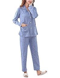 Pijamas Mujer Tops+ 3/4 Pantalones Dos Piezas Tallas Grandes Elegante Manga Corta Cuello Redondo