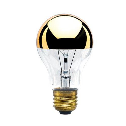 bulbrite 60a19hg Gluehbirne A19Glühbirne, Hälfte Gold, mittel Boden, Clear Half Gold, E26 60 wattsW 120 voltsV - A19-glühlampen Medium Base