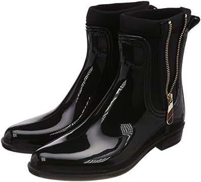 a59e88d735bbff Tommy Hilfiger Damen Material Mix RAIN Boot Gummistiefel Schwarz (Black  990) 36 EU