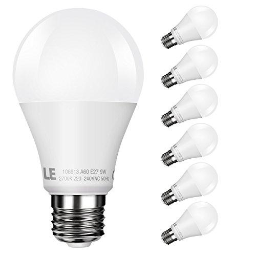LE Lot de 6 Ampoules LED 9W E27 A60, équivalent à ampoule incandescente de 60W, 800LM 2700K Blanc chaud, Angle de diffusion 240°, Ampoule sphérique