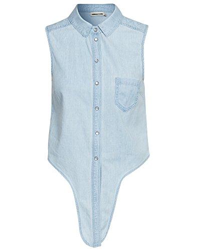 Noisy May Nmfie Sl Tie Denim Shirt-Camicia Donna    blu XS