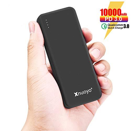 Xnuoyo PD 18W Schnellladung 3.0 Power Bank, 10000mAh Power Delivery Tragbares Ladegerät, ultraflacher Typ C-Eingang / Ausgang Externer Akku Kompatibel mit den Meisten Smartphones(Black)
