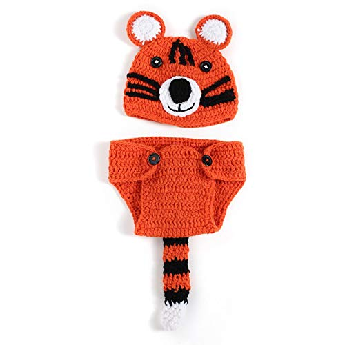 Newborn Baby Photography Props Crochet Wool Pants Hat Set for Boys Girls Tiger Design Photography Costume Accessories
