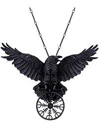 Collar Gótico de Restyle con Pendiente de Yelmo de Aegir Cuervo Runa Nórdica Mitología Vikinga