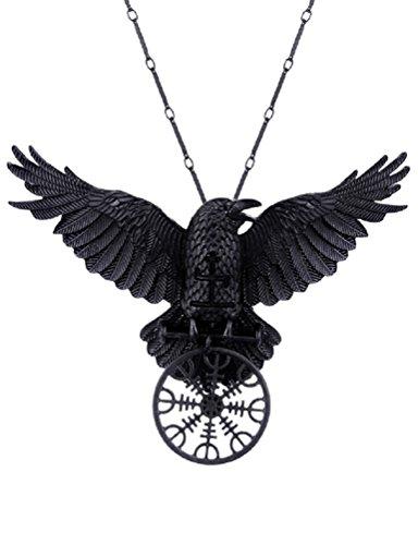 Restyle Helm der Ehrfurcht Rabe Gothic Anhänger Halskette Rune Norse Mythologie Wikinger