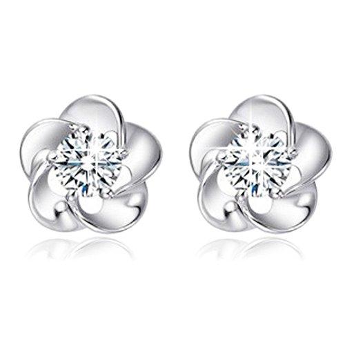 Damen Ohrringe Schmuck Ohrstecker Stecker DAY.LIN Rose Blume geformt Kristall Ohrstecker für Frauen Damen Geschenk (Weiß)