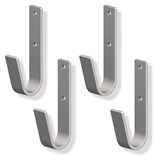 4 Stück - Metall-Haken gebogen Wandhaken zum Schrauben Ordnungshaken 35 x 82 mm   Universal-Haken Stahl verzinkt   Allzweckhaken zum Ordnen & Sortieren   Baubeschläge von GedoTec®