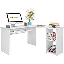 Escritorio Forma L Comifort Mesa de Ordenador Esquina Escritorios Juvenil para Hogar o Oficina 120/140x48x75 cm Color Blanco