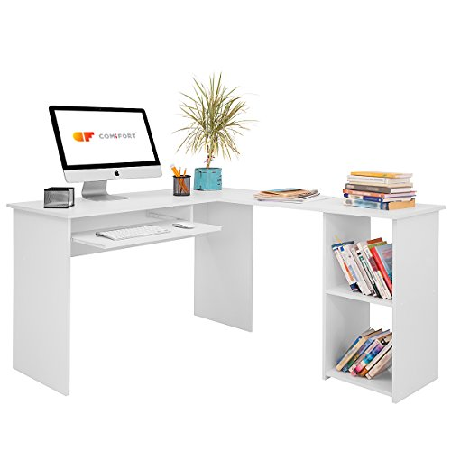 COMIFORT Escritorio T06B - Forma L Mesa de Ordenador Esquina Escritorios Juvenil para Hogar o Oficina 120/140x48x75 cm Color Blanco