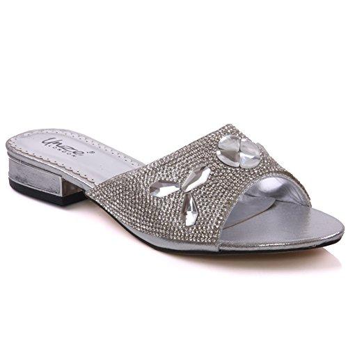 Unze Womens ' Semi ' Strass Slippers - 197-21 Silber