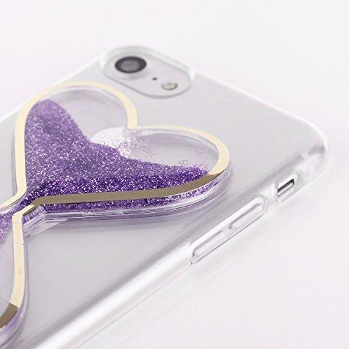 EGO® 3D Liquid Case für iPhone 5 5S SE, Gold Cover glänzend flüssig Bling Glitzer Glitter Herz Brokat Sanduhr Violett
