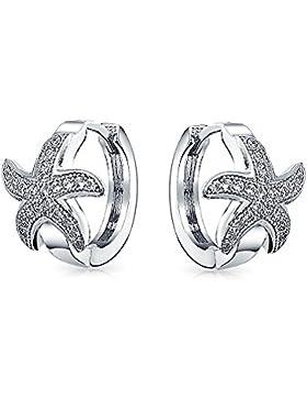 Bling Jewelry 925er Sterlingssilber Silber Micro ebnen CZ nautische Starfish Huggie Ohrringe Rhodiniert