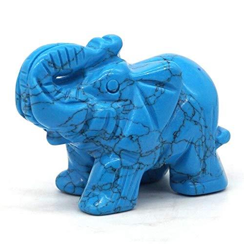 kreative Dekoration Geschenk Elefanten Figuren Handwerk geschnitzt blau Türkis Mini Tier Statue Decor Chakra Heilung 2 Zoll ()