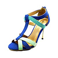 SendIt4Me Turquoise Suedette high Heel Sandals with Metal Stiletto