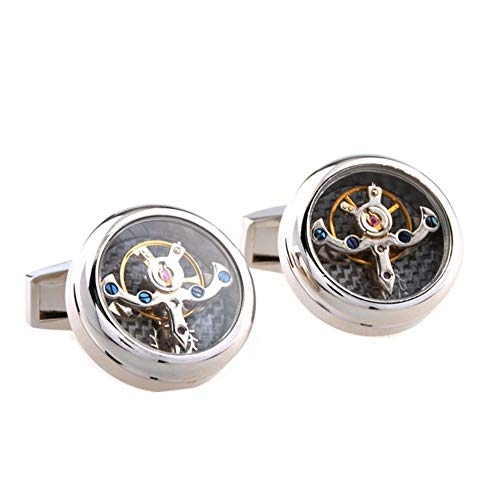 Xhtoe Manschettenknöpfe Herren Time Shuttle Tourbillon French High-End Manschettenknöpfe Balance Wheel Herren Damenanzug French Shirt Clock Cuffs Herrenhemd Manschettenknöpfe