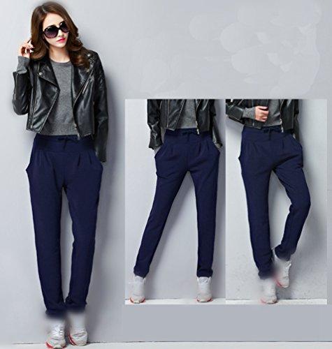 YAANCUN Donne in Alto Alla Vita Regolare Occasionale Harem Matita Pantaloni Cordoncino Vita Termico Pantaloni #Blu