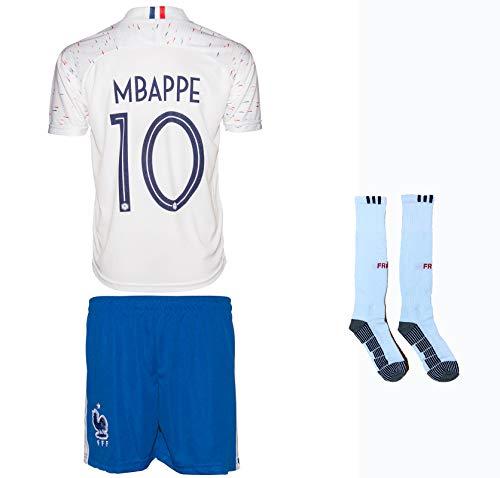 Frankreich Mbappe #7 2018 Auswärts Trikot und Shorts mit Socken Kinder und Jugend Größe